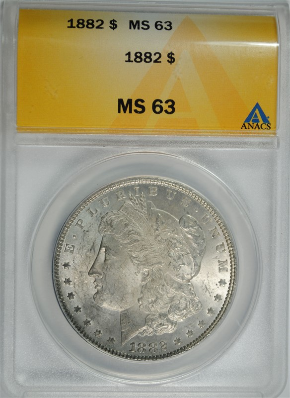1882 MORGAN SILVER DOLLAR, ANACS MS-63  TONED