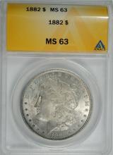 1882 MORGAN SILVER DOLLAR, ANACS MS-63  TONED