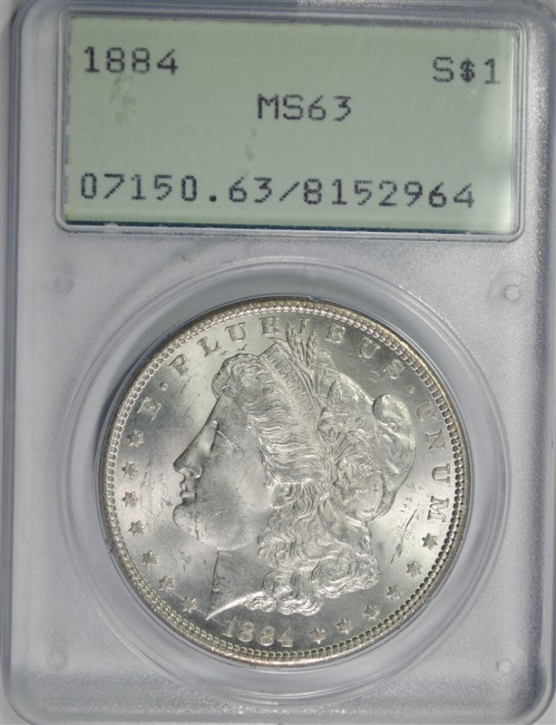 1884 MORGAN SILVER DOLLAR, PCGS MS-63
