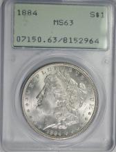 1884 MORGAN SILVER DOLLAR, PCGS MS-63