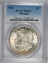 1921 MORGAN SILVER DOLLAR PCGS MS64+
