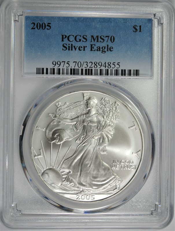 2005 AMERICAN SILVER EAGLE, PCGS MS-70  PCGS PRICE GUIDE=300.00