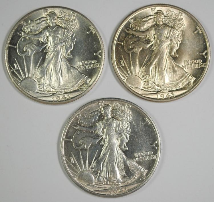 1941, 1941-S & 1943 WALKING LIBERTY HALF DOLLARS, CHOICE BU