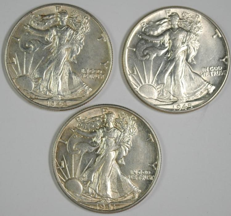 1941-D, 1942 & 1945 WALKING LIBERTY HALF DOLLARS CHOICE BU NICE COINS