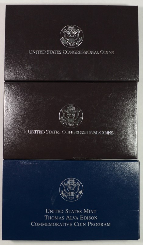 2- 1989 CONGRESSIONAL 2-PIECE  & 2004 EDISON PROOF COMMEMORATIVE SETS