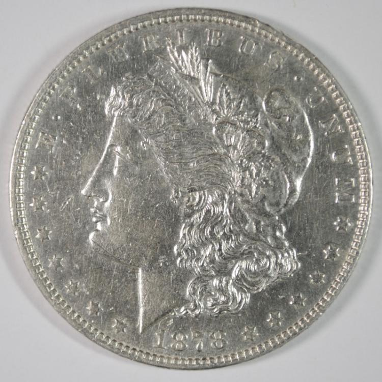1878 7TF MORGAN SILVER DOLLAR, CHOICE BU