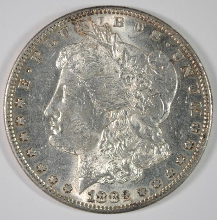 1882-S MORGAN SILVER DOLLAR, CHOICE BU