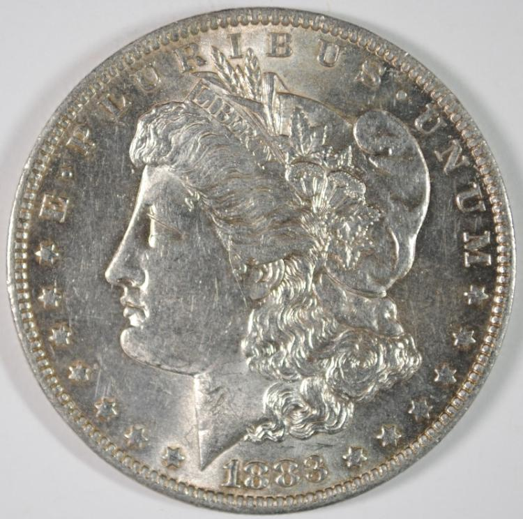 1883-O MORGAN SILVER DOLLAR, CHOICE BU