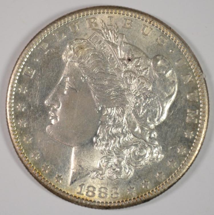 1883-S MORGAN SILVER DOLLAR, CHOICE BU
