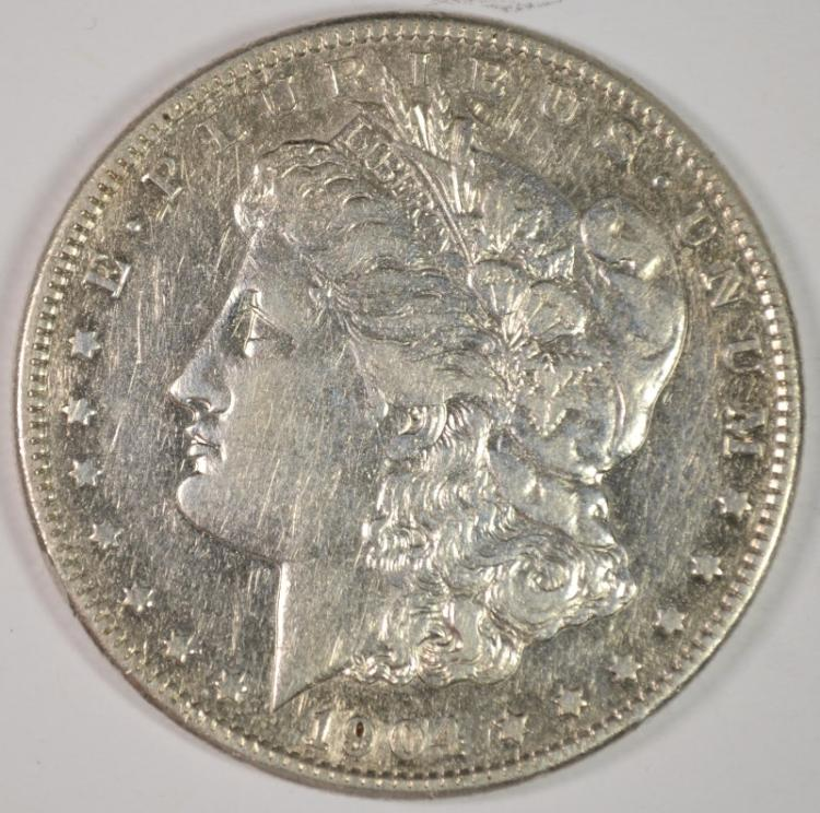 1904-S MORGAN SILVER DOLLAR, XF/AU  KEY DATE