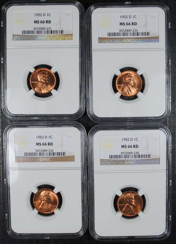 4 1952-D LINCOLN CENTS NGC MS-66 RD
