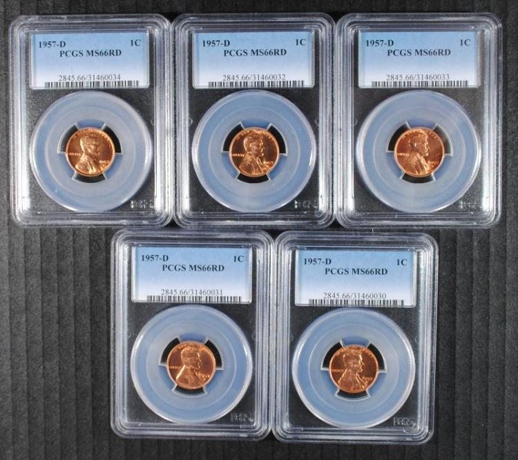 5 - 1957-D LINCOLN CENTS, PCGS MS66 RED