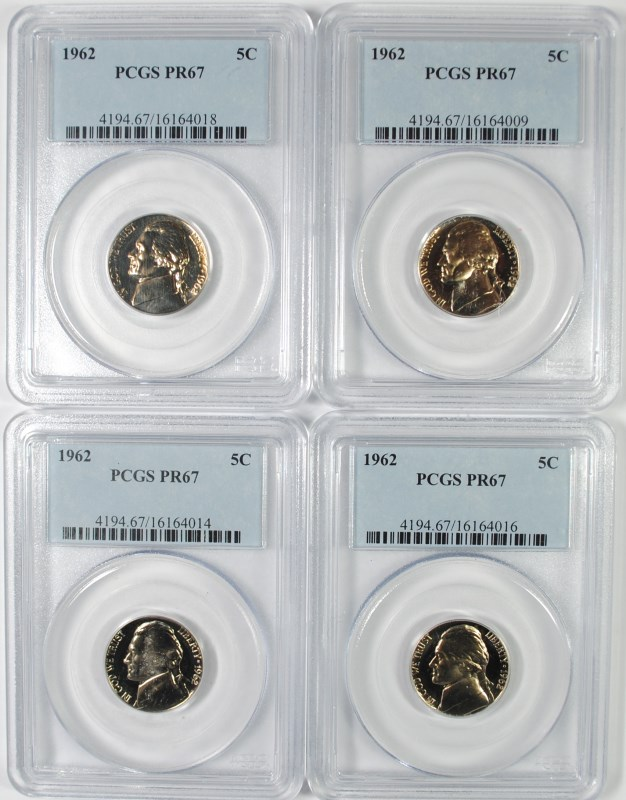 LOT OF ( 4 ) 1962 JEFFERSON NICKELS, PCGS PROOF-67