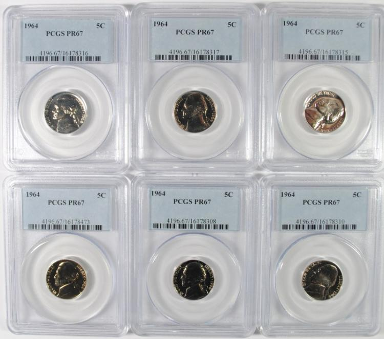 LOT OF ( 6 ) 1964 JEFFERSON NICKELS, PCGS PROOF-67