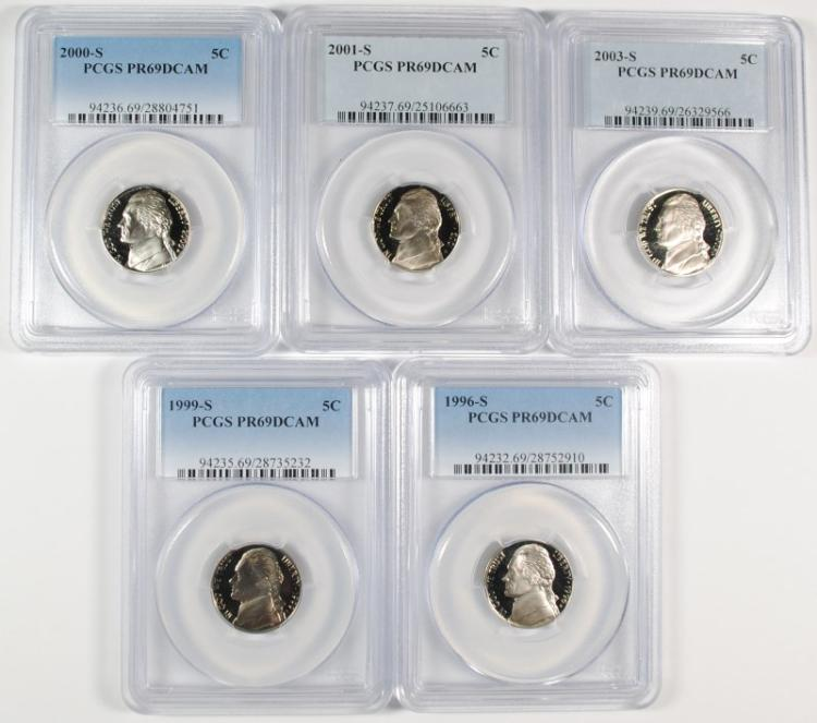 (5) JEFFERSON NICKELS PCGS PR-69 DCAM