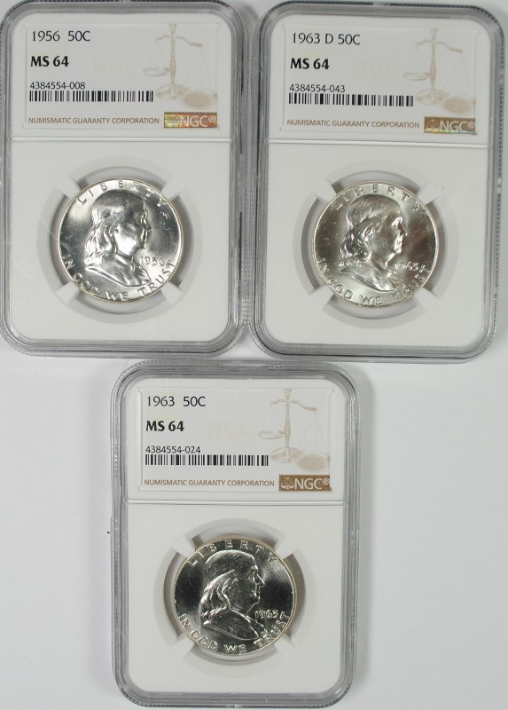 1956, 1963 & 1963-D FRANKLIN HALF DOLLARS, NGC MS-64
