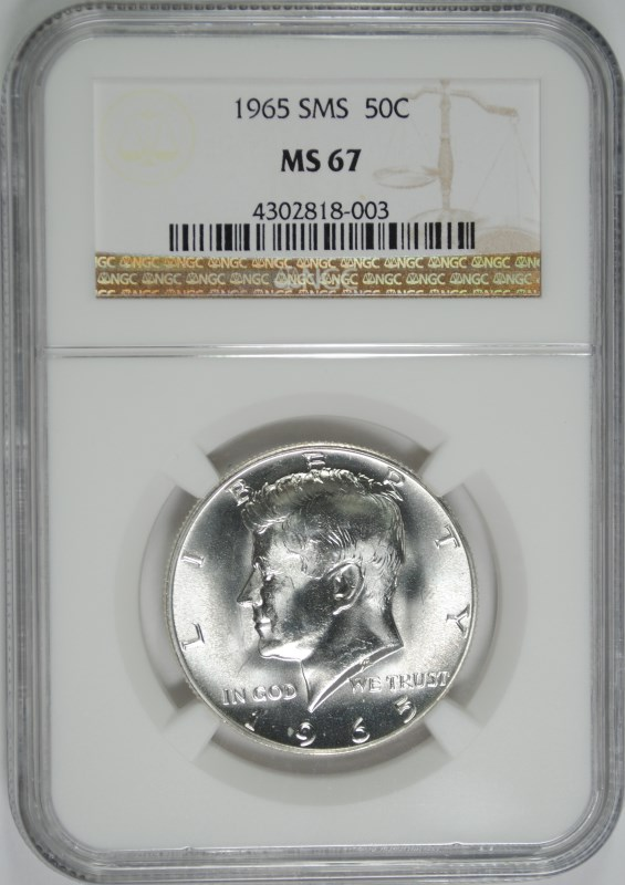 1965 SMS KENNEDY HALF DOLLAR - NGC MS67