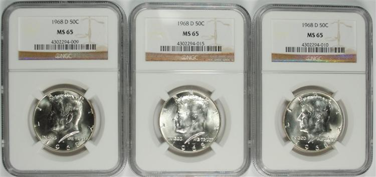 3 - 1968-D KENNEDY HALF DOLLARS - NGC MS65
