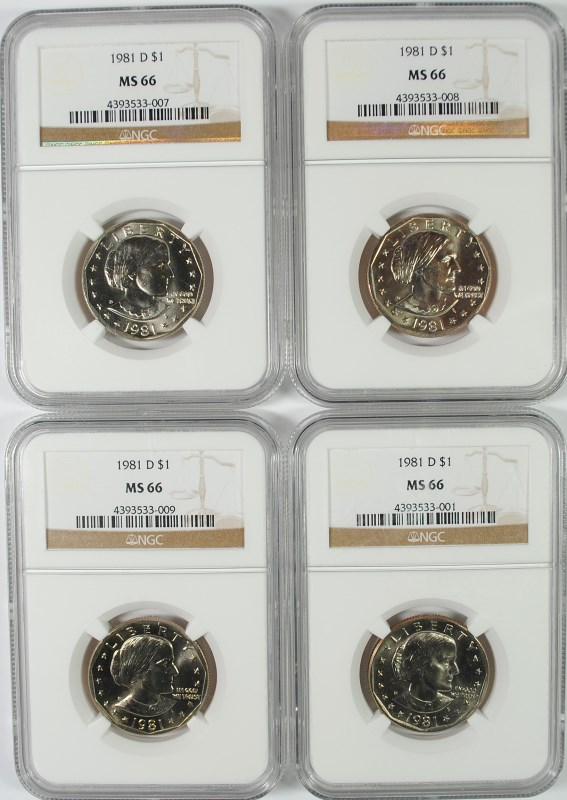 ( 4 ) 1981-D SUSAN B. ANTHONY DOLLARS, NGC MS-66