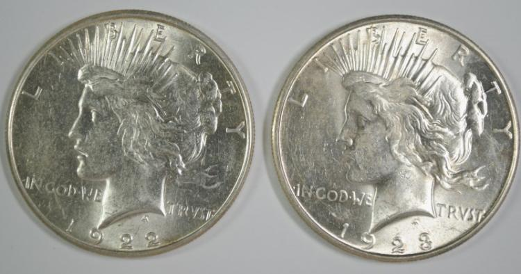 1922-S & 1923-S PEACE SILVER DOLLARS, CHOICE BU