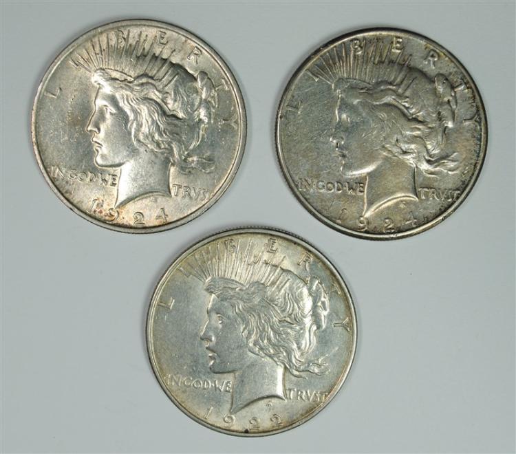 3 PEACE DOLLARS 1922-D, 24-P,S