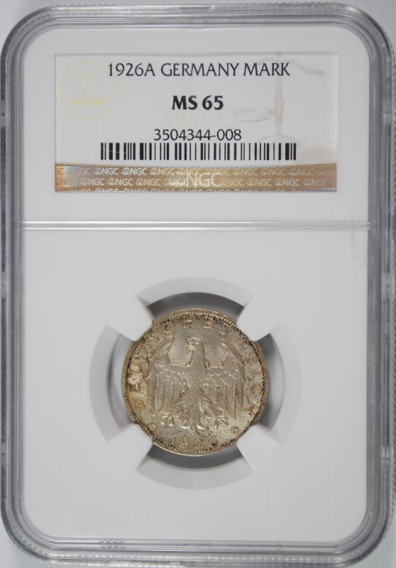 1926A SILVER 1 MARK GERMANY NGC MS 65