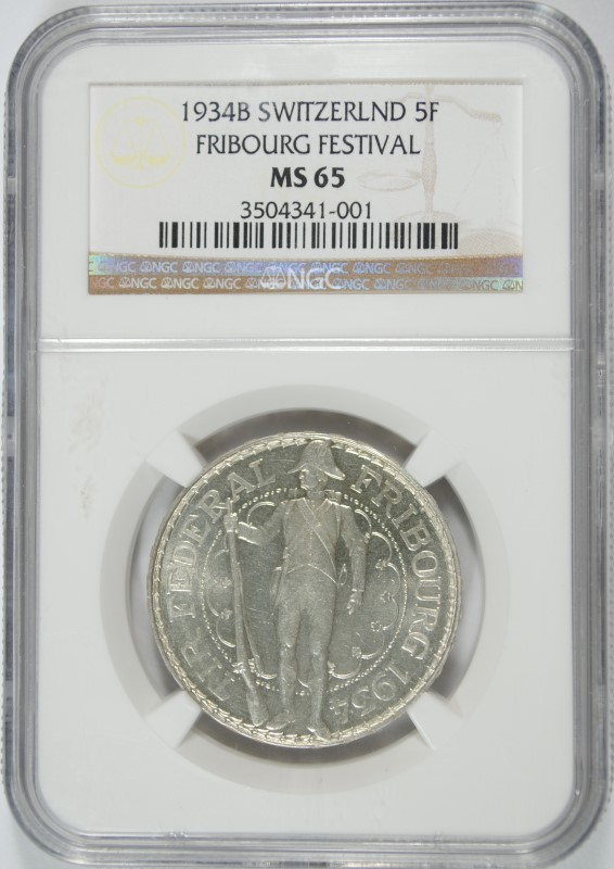 1934B SILVER 5 FRANCS SWITZERLAND NGC MS 65