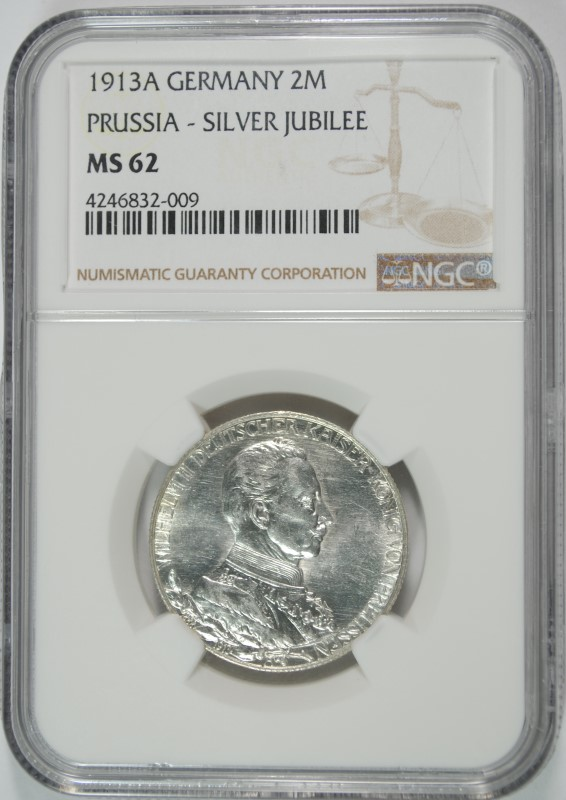 1913A SILVER 2 MARKS PRUSSIA GERMANY NGC MS 62