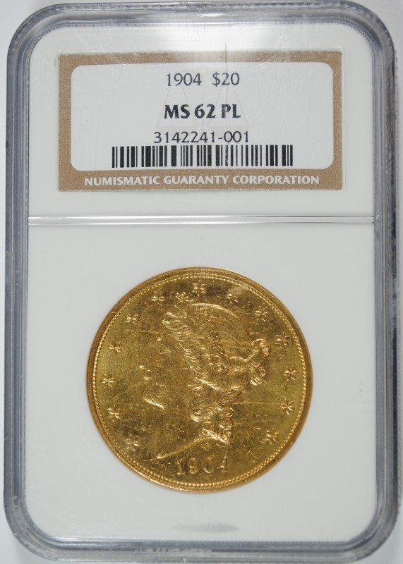1904 GOLD $20 LIBERTY NGC MS 62 PL  RARE IN PL