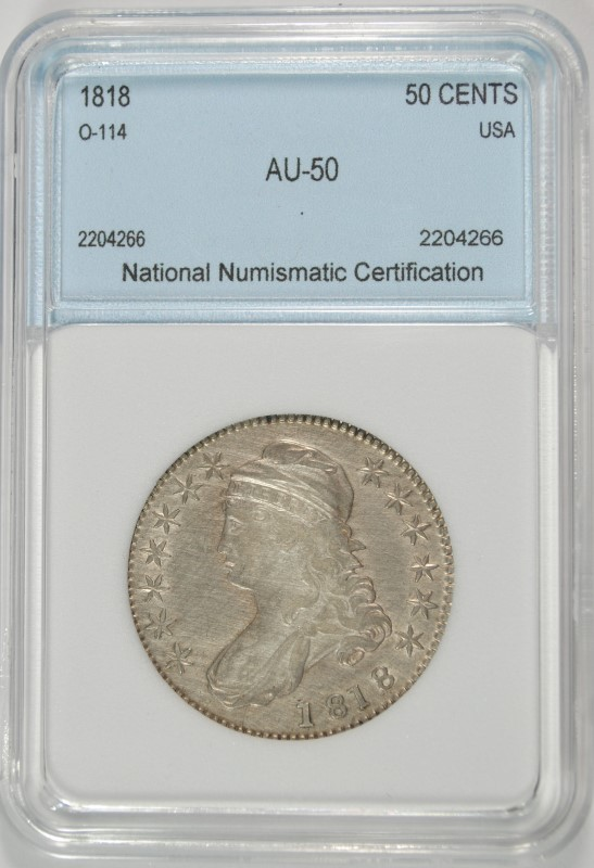 1818 BUST HALF DOLLAR NNC AU VERY SCARCE EARLY DATE