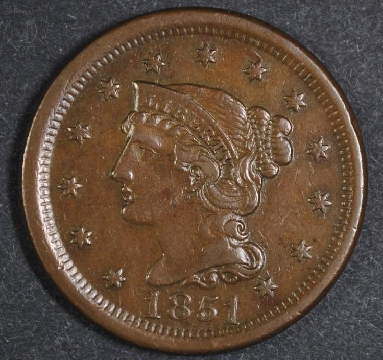 1851 LARGE CENT CH AU SHARP STRIKE