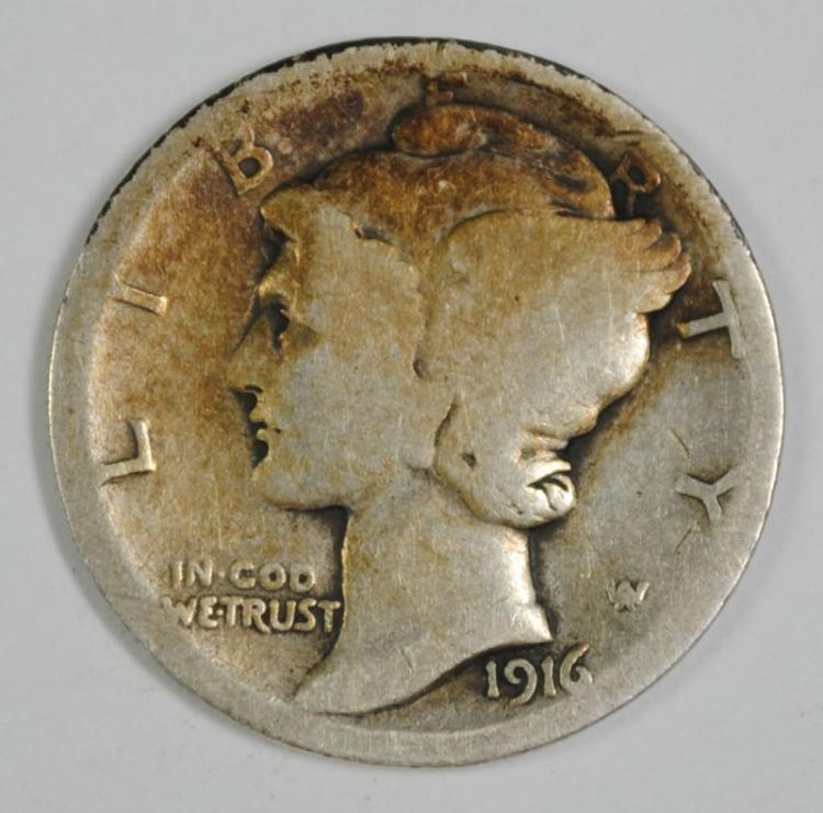 1916-D MERCURY DIME GOOD KEY DATE