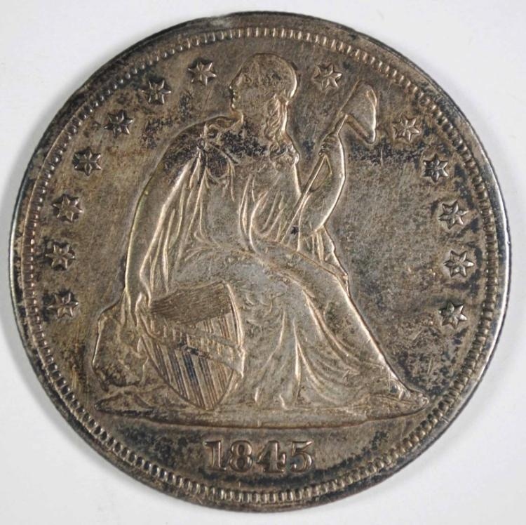 1845 SEATED LIBERTY DOLLAR CH AU