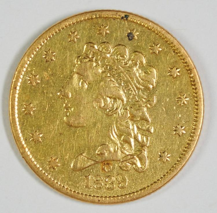 1839-O $2.5 GOLD LIBERTY CH AU, MOUNT REMOVED FROM REV.