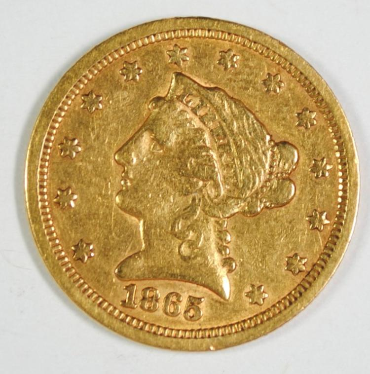 1865-S $2.5 GOLD LIBERTY XF