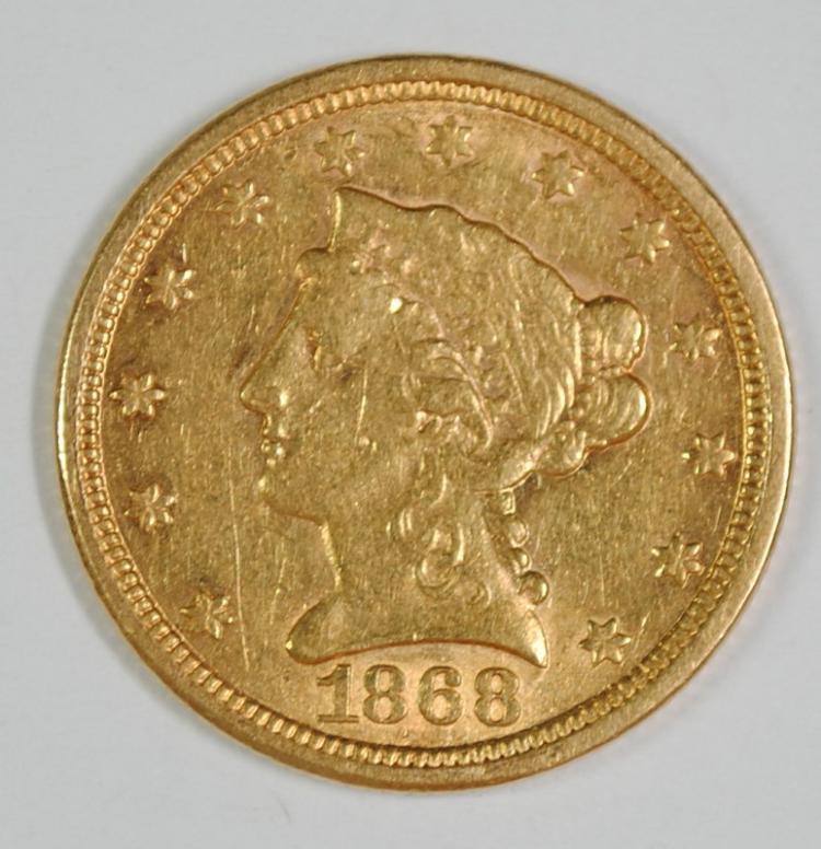 1868-S $2.5 GOLD LIBERTY AU