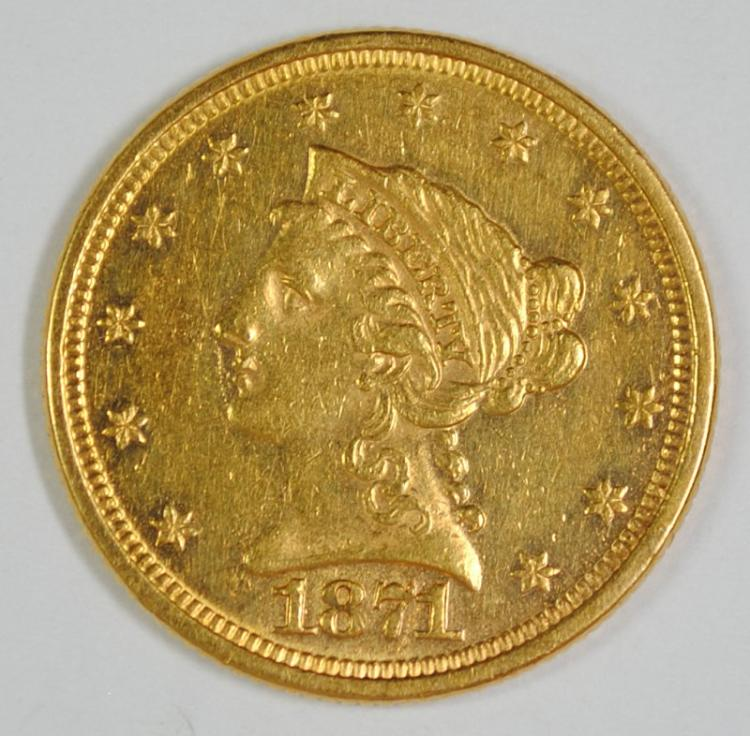 1871 $2.5 GOLD LIBERTY BU CLEANED