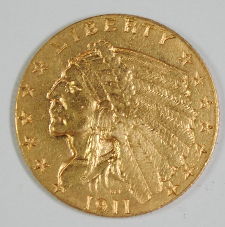 1911-D $2.5 GOLD INDIAN KEY DATE AU
