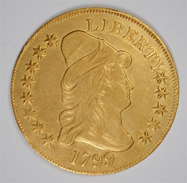 1799 $10 GOLD AU RIM BUMP. VERY RARE EARLY GOLD ISSUE