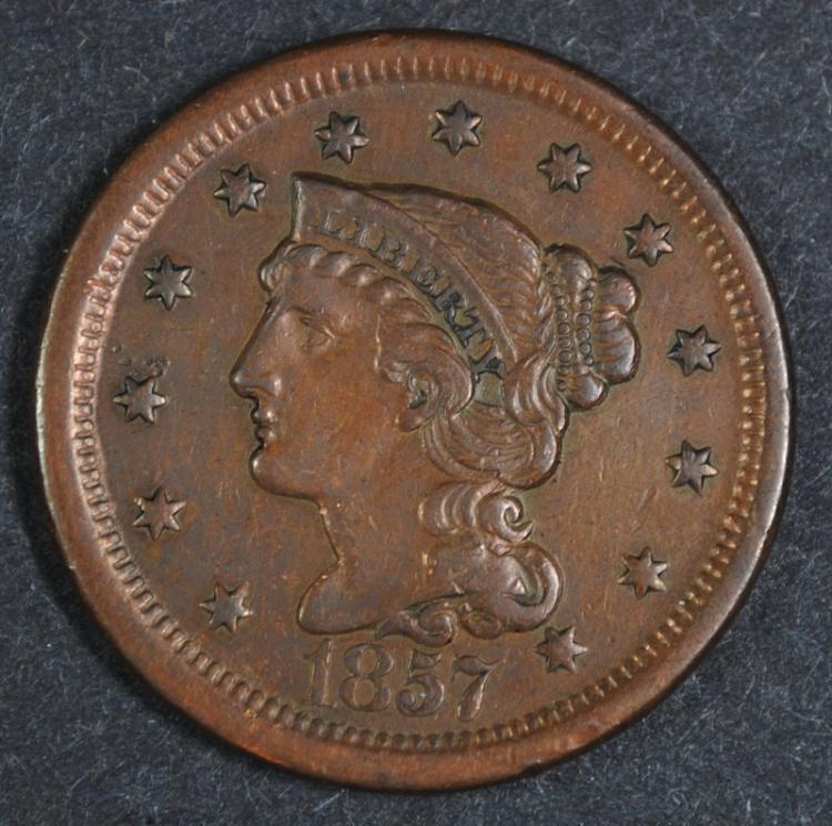1857 LD LARGE CENT XF/AU