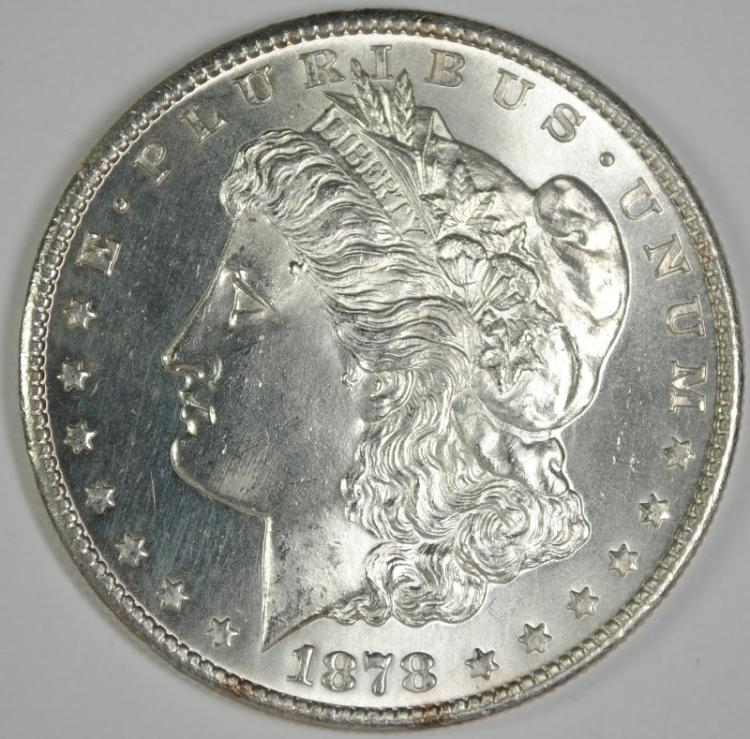 1878-S MORGAN DOLLAR GEM BU BLAST WHITE