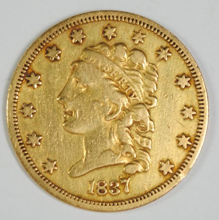 1837 $2.5 CLASSIC HEAD GOLD LIBERTY XF