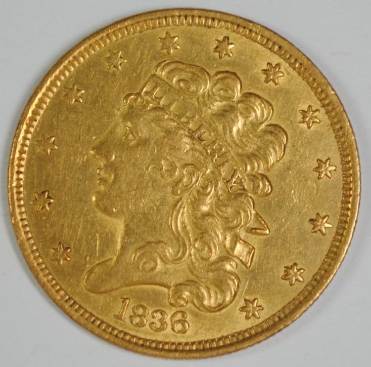 1836 CLASSIC HEAD $5 GOLD CH AU