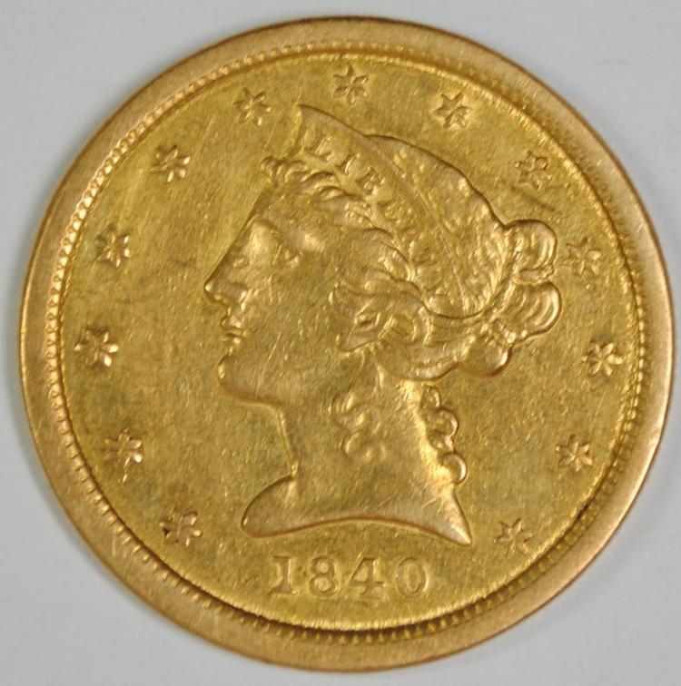 1840 $5 GOLD LIBERTY CH AU