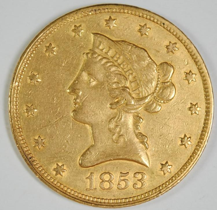 1853 $10 GOLD LIBERTY AU SMALL MARKS OBV.