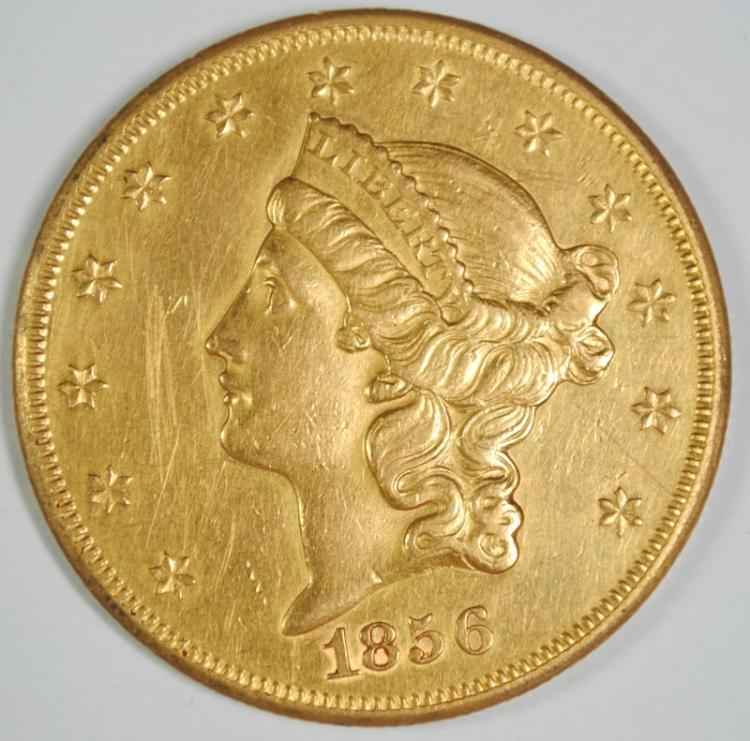 1856-S TYPE 1 $20 GOLD LIBERTY CH AU CLEANED