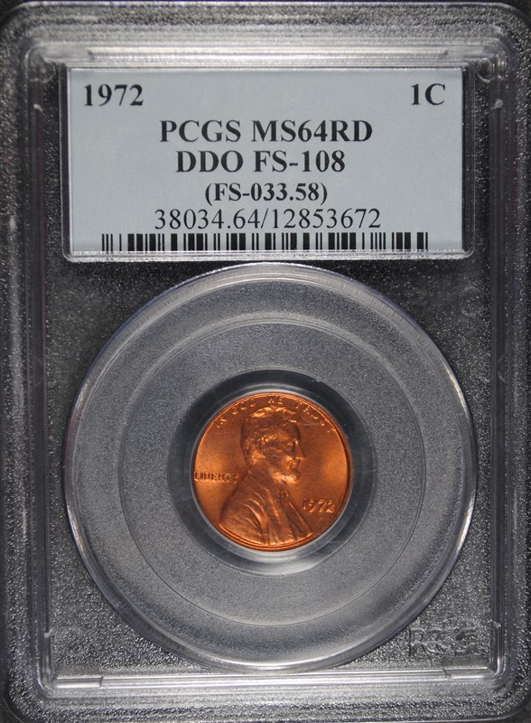 1972 DDO LINCOLN CENT PCGS MS64RD ( FS-108 )