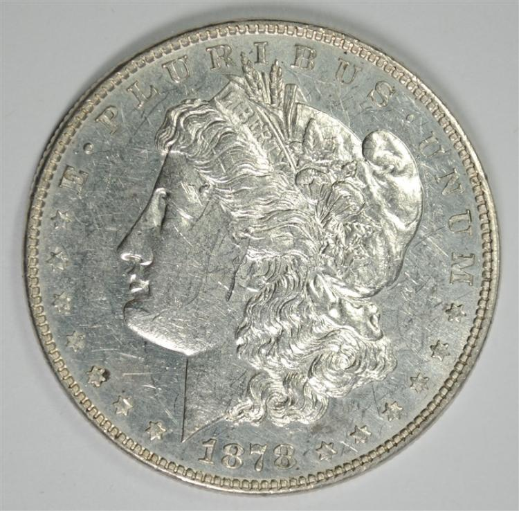 1878 7TF MORGAN SILVER DOLLAR, CHOICE BU PL a few marks on obverse