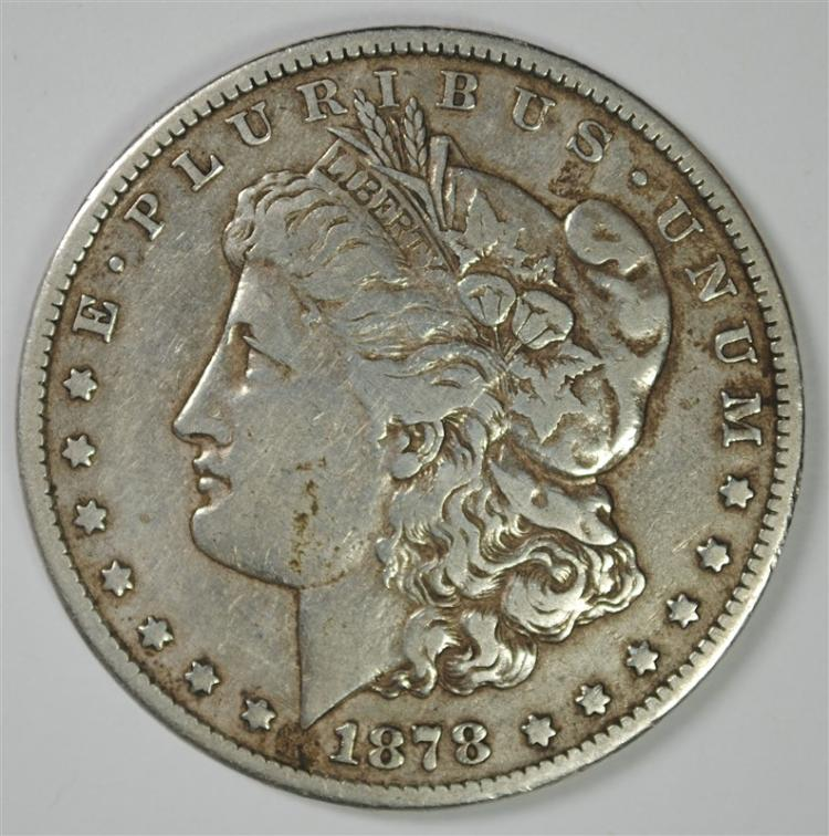 1878-CC MORGAN SILVER DOLLAR, VF