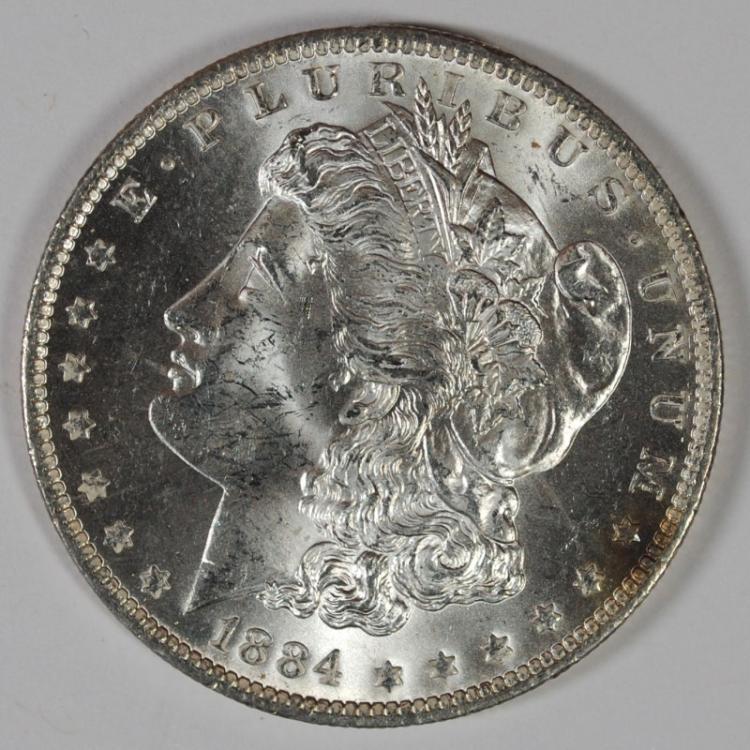 1884-O MORGAN SILVER DOLLAR, CHOICE BU+